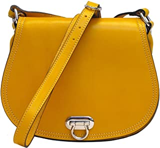 Women's Saddle Bag in Yellow Italian Calfskin Leather - Handbag Shoulder Bag