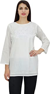 Phagun Women's Chic Designer Summer Floral Embroidery Tunic Top Wear