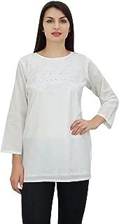 Phagun Women's Chic Designer Summer Floral Embroidery Tunic Top Wear