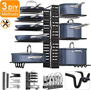 Pot Rack Organizers, G-TING 8+ Pan Rack Pot Lid Holders, Adjustable Heavy duty Pots & Pans Organizer for Kitchen Countertop and Cabinet, Pots and Pans Lid Organizer With 3 DIY Methods(Newest Upgrade)