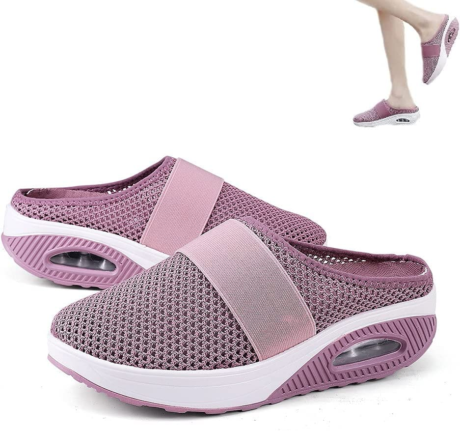 HengYuan Zapatos para Caminar con amortiguación de Aire para Mujeres, Sandalias ortopédicas de Malla Antideslizante para Caminar, Zapatillas de Deporte Casual Transpirables al Aire Libre (Pink,EU 38)
