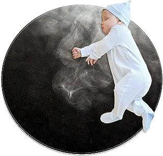 Svartvit rök, barn rund matta polyester överkast matta mjuk pedagogisk tvättbar matta barnkammare tipi tält lekmatta