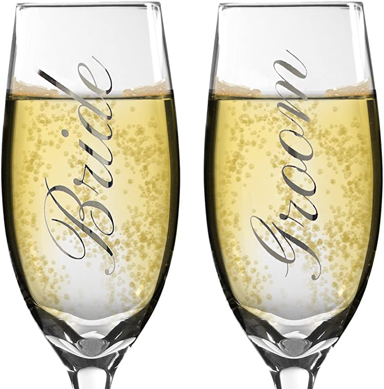 Bride And Groom Champagne Glasses Set Of 2 Elegant Toasting Flutes Silver Wedding Champagne Glass Set Wedding Glasses