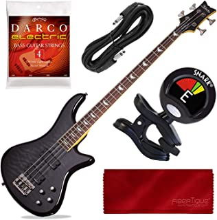 $479 » Schecter Stiletto Extreme-4 Bass Guitar (4 String, See-Thru Black) with Tuner and Accessory Bundle