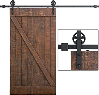SMARTSTANDARD 8FT Heavy Duty Sliding Barn Door Hardware Kit, Single Rail, Black, Smoothly and Quietly, Simple and Easy to Install