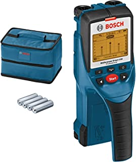 Bosch Professional Detector de pared D-tect 150 (máx. profundidad de detección madera/cables con tensión/tubos de plástico/metal: 40/60/80/150mm, 4 pilas AA, con funda, en caja)