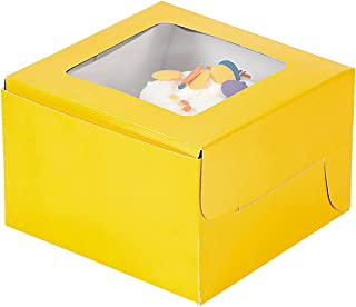 Yellow Cupcake Boxes with Window and Insert - 12 ct