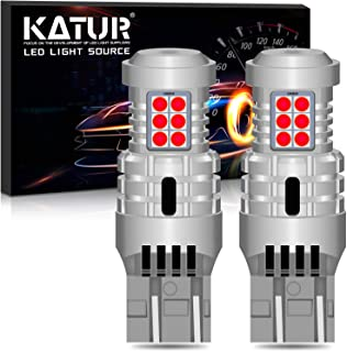 KATUR 7443 T20 992 W21/5W LED Bulbs Super Bright 12pcs 3030 & 8pcs 3020 Chips Canbus Error Free Replace for Turn Signal Reverse Brake Tail Stop Parking RV Lights,Brilliant Red(Pack of 2)