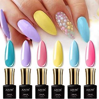 AZUREBEAUTY Gel Nail Polish Set - 6PCS Sweet Candy Neon Colors Nail Art Gift Box, Soak Off UV LED Manicure Bright Color Starter Kit 0.24 OZ