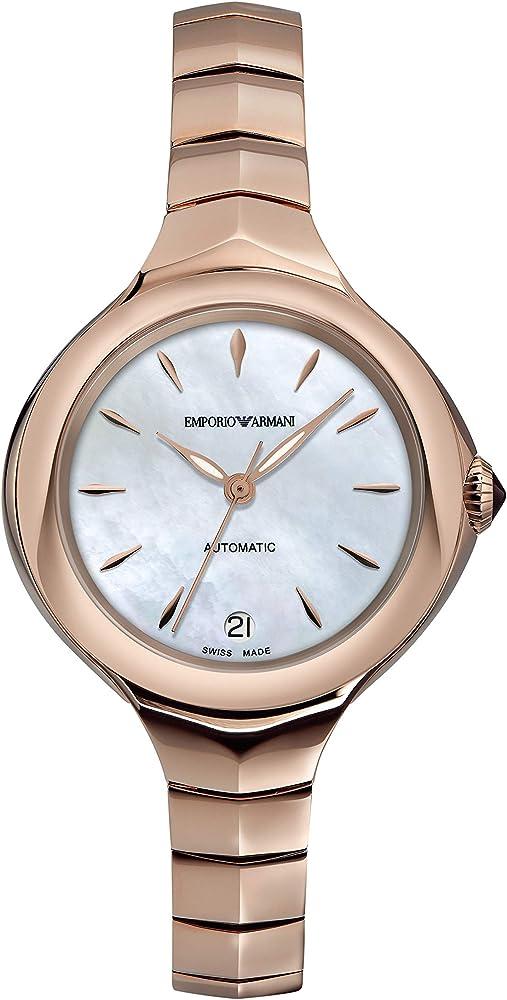 Emporio armani, orologio da donna automatico, in acciaio inossidabile, quadrante in madreperla ARS8206