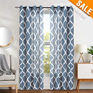 Ogee Pattern Curtains for Living Room Linen Textured Lattice Light Filtering Grommet Top Window Panels Drapes for Bedroom 84 inches Long Blue 2 Panels