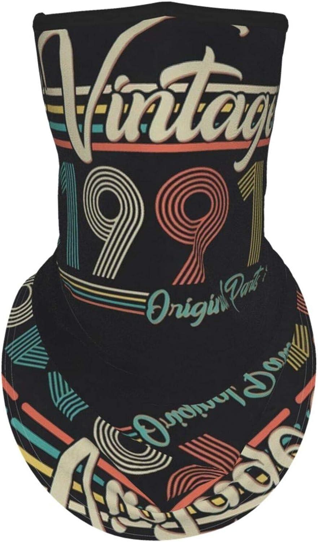 Ear Hangers Face Balaclava Vintage 1991 Original Parts 30th Birthday Retro Black Protective Cover Wristband Bandanas Neck Gaiter Dust-Proof,Anti-Pungent Gas,Washable