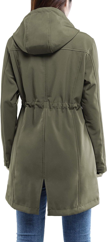 33,000ft Womens Softshell Long Jacket with Hood Fleece Lined Windproof Warm up Waterproof Windbreaker
