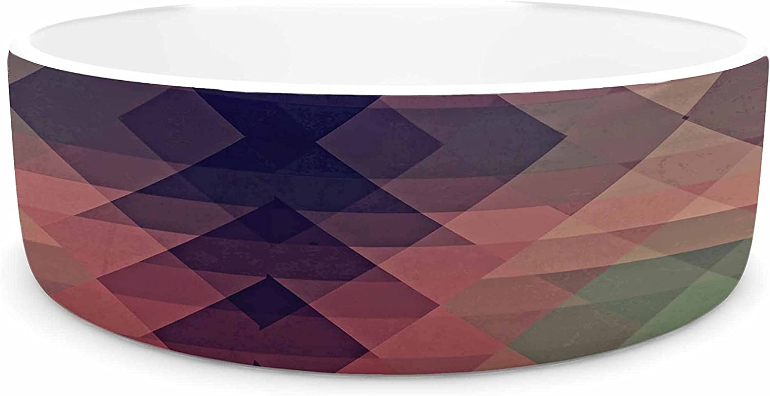 KESS InHouse Nika Martinez Hipsterland Maroon Green Pet Bowl, 7