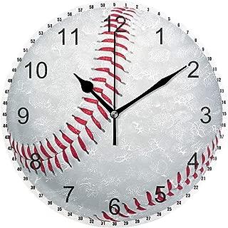 MIKA野球 掛け時計 おしゃれ 連続秒針 静音 壁掛け時計 部屋 北欧 インテリア 掛時計 玄関25cm