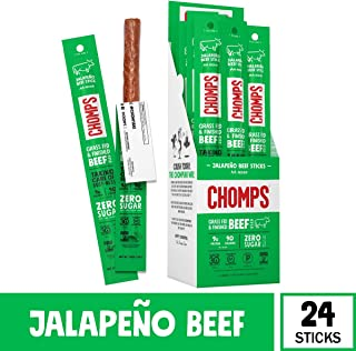 CHOMPS Grass Fed Jalapeño Beef Jerky Snack Sticks, Keto & Paleo Friendly, Whole30 Approved, Non-GMO, Gluten & Sugar Free, 100 Calorie Snacks, 1.15 Oz Meat Stick, Pack of 24