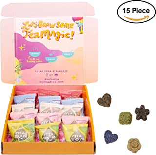 Organic Loose Leaf Tea | Tea Drops 15 Party Pack Instant Tea Sampler | 3 of Each Matcha Green Tea, Chai Spice, Rose Earl Grey, Blueberry Acai & Vanilla White | Lightly Sweetened, Delicious Hot or Iced