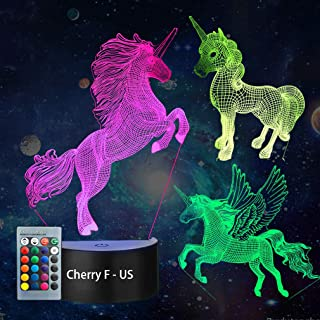 3D Unicorn Night Light——3D Unicorn Lamp Three Pattern and 7 Colors with Remote 3D Optical Illusion Kids Lamp as a Pefect Gifts for Boys and Girls on Birthday or Holiday (Unicorn)