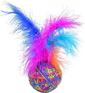 Changrongsheng Jouet Balles pour Chat, Jouets Interactifs pour Chat avec Plume, Chat Balles de Laine Colorées, Jouets à Mâ...