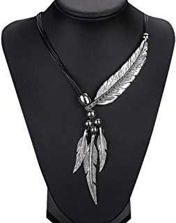 Botrong Feather Antique Vintage Time Necklace Sweater Chain Pendant Jewelry