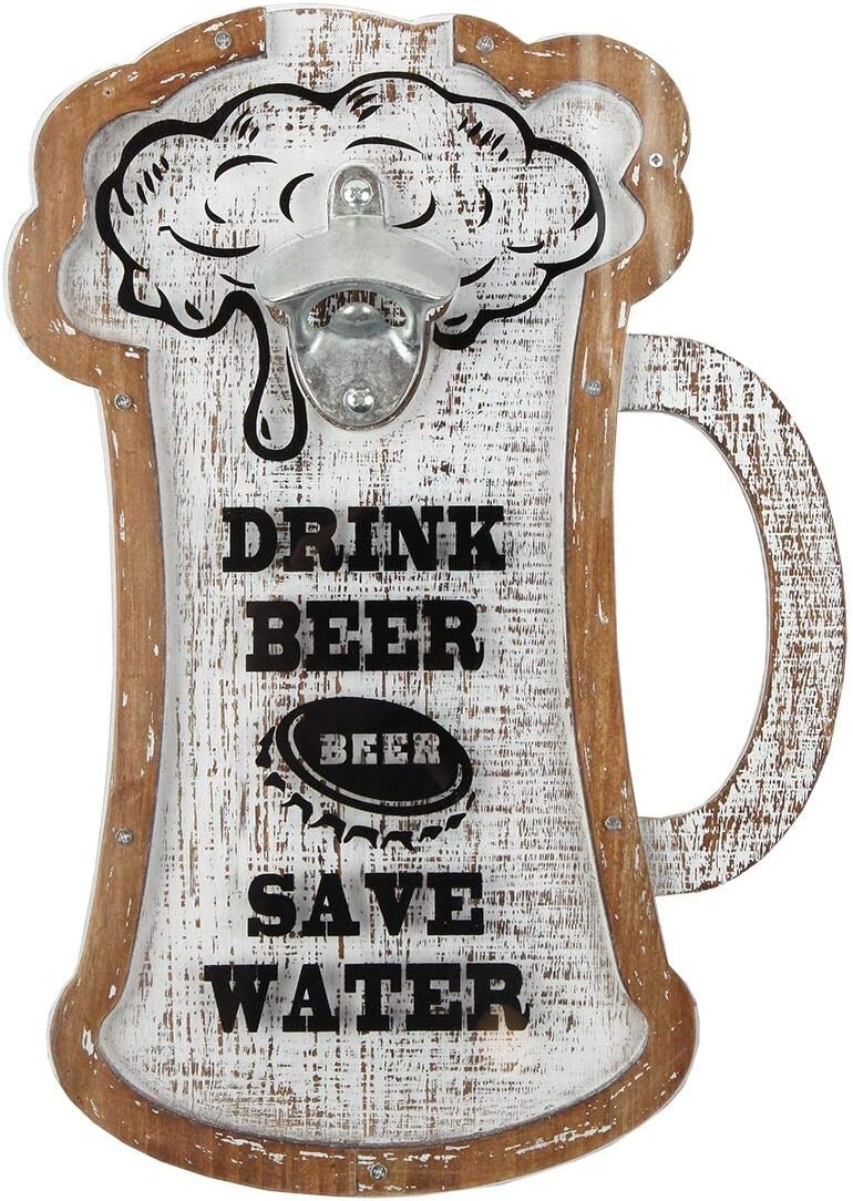 Lily's Home Beer Caps Holder Shadow Box and Bottle Opener, Makes The Ideal Gift for The Happy and Hydrated Beer Lover, Wood and Plastic. Wall Mount