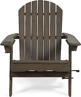Christopher Knight Home 312844 Cheryl Outdoor Acacia Wood Folding Adirondack Chair, Gray