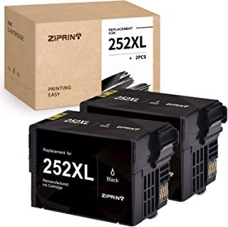 ZIPRINT Remanufactured Ink Cartridge Replacement for Epson 252XL 252 Ink for Epson Workforce WF-7720 WF-7710 WF-3640 WF-3630 WF-3620 WF-7620 WF-7610 WF-7110 Printer (252XL Black, 2-Pack)