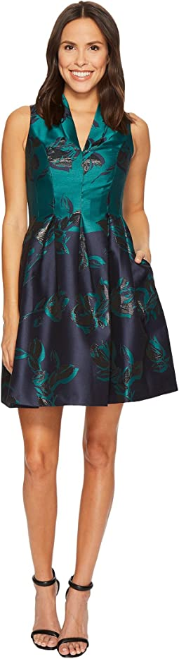 Vince Camuto - Jacquard Funnel V-Neck Fit and Flare Dress