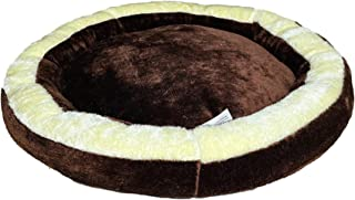 Poofy's Pet Island Dog and Cat Round Shape Cream Brown Ultra Soft Reversiable Small Bed