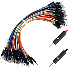 HELLOYEE Premium Breadboard Jumper Wires Male to Male 0.1'' Square Head 100-Pack 10 Colors 24AWG by Hellotronics (15CM, 1P...