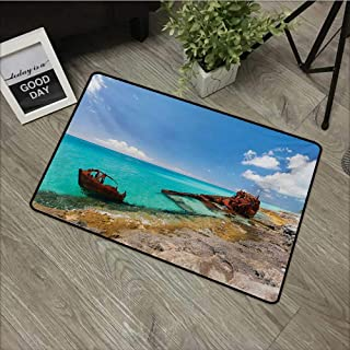 pad W19 x L31 INCH Shipwreck,Ship Wreckage on a Peaceful Rock Shore Natural Wonder Under Idyllic Sky Image,Multicolor Non-Slip Door Mat Carpet