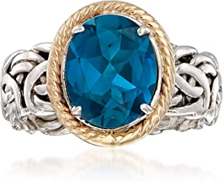 Ross-Simons 4.10 Carat Blue Topaz Ring in 14kt Yellow Gold and Sterling Silver