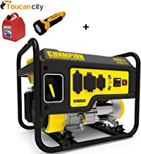 Toucan City Gas Can with LED flashlight and Champion Power Equipment 3550-Watt Gasoline Powered Recoil Start Portable Generator with Champion 224cc 4-Stroke Engine 100407