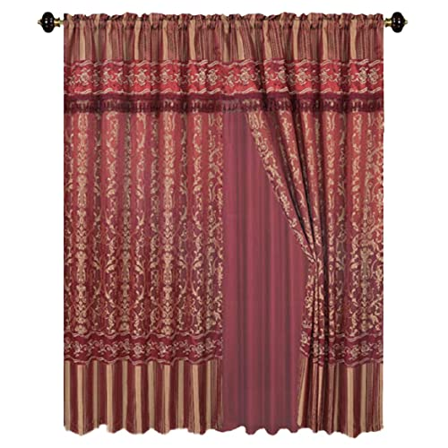 Red And Gold Jacquard Curtains Amazon Com