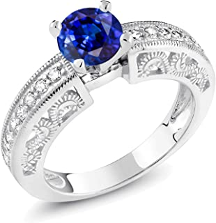 1.84 Ct Round Blue Kyanite 925 Sterling Silver Ring