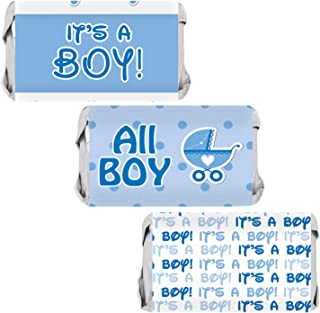 Its a Boy Baby Shower Mini Candy Bar Wrappers | Blue Footprint Theme | 54 Stickers