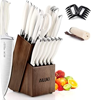 Knife Set,18 Piece Kitchen Knife Set with Block Wooden and Sharpener, Professional High Carbon German Stainless Steel Chef...