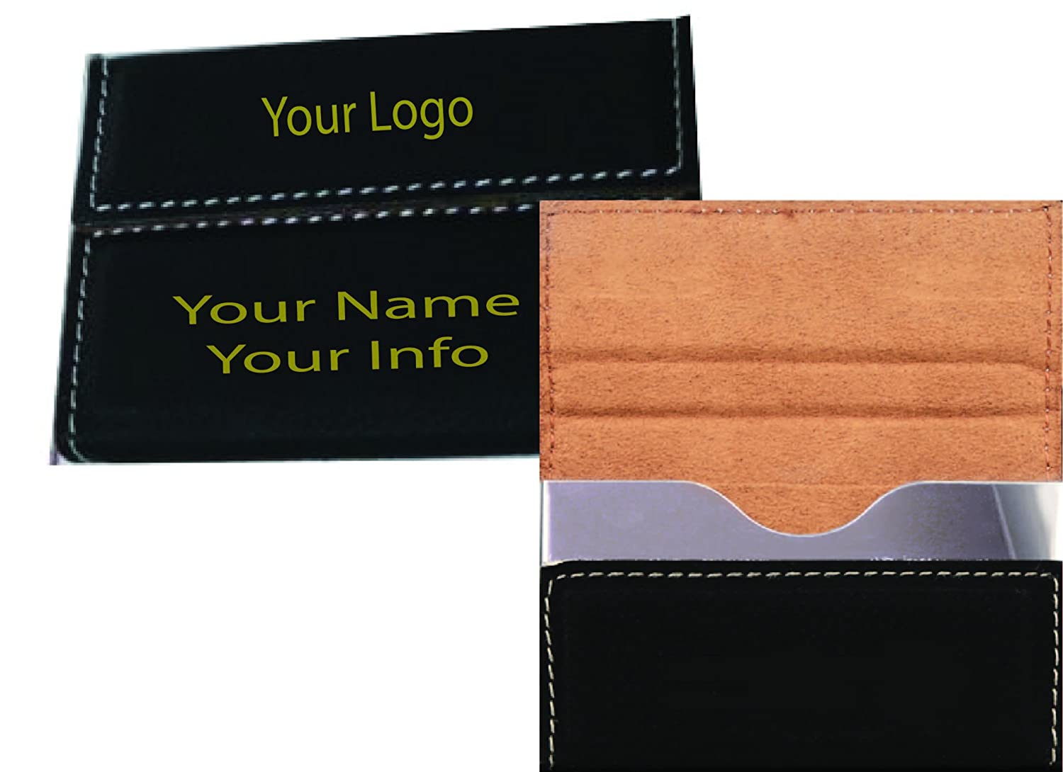 Engraved All stores are sold Max 42% OFF Personalized Card Case Engraving Black Gold