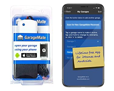 GarageMate: Open your garage with your iPhones, Androids, or Apple Watch. Easy setup. Secure. Bluetooth4.0. Please read description fully before ordering.