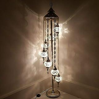 Handmade Turkish Moroccan Arabian Eastern Bohemian Tiffany Style Glass Mosaic Colourful Silver Floor Lamp Lamps Home Decor...
