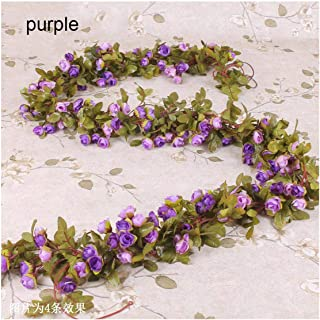 Silk Rose Artificial Flowers Vine Garland Fake Ivy Arch Hanging Decorative Wedding Home Wall Rattan Plants Leaves Decoration,Purple