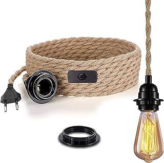 Pendelleuchte mit Schalter, Leinen Vintage Hängelampe Seil mit 4.5 Meter gedrehten Hanfseil E27 Lampenfassung Plug, Küche,2 adrig, 0,75mm², für Bar, Fundament, Lager, Bauernhof ohne Birne