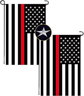 black and white american flag with red stripe
