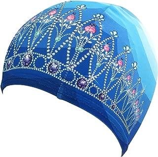 Poolbeanies,  Lycra Designer Swim Cap,  Tiara,  Crystal Blue,  Single Cap