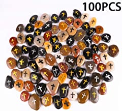 100PCS Cross RockImpact Engraved Rocks Inspirational Stones Clinging Cross Heavenly Blessings Gifts Faith Stones Novelty Gratitude Rocks Healing Prayer Stones Encouragement Rocks Wholesale, 2