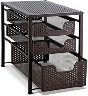Bextsware Stackable Multi-Function Under Sink Organizer 3 Tier Sliding Basket Cabinet, Bronze