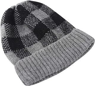 iNoDoZ Fashion Women's Winter Collar Plus Velvet Thick Plaid Knit Parent-Child Warm hat