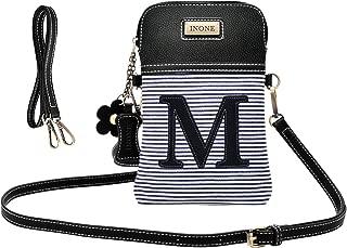 Crossbody Bag Cell Phone Purse - Women PU Leather Handbag with Black White Stripe Canvas - Monogram