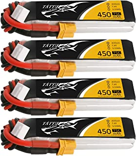 Tattu 4 Packs 450mAh 7.4V 75C 2S LiPo Battery Pack with XT30 Plug - Long Size for H Frame and BETAFPV 2S Whoop