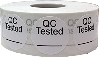 White Circle with Black QC Tested_ Stickers, 1 Inch Round, 500 Labels on a Roll